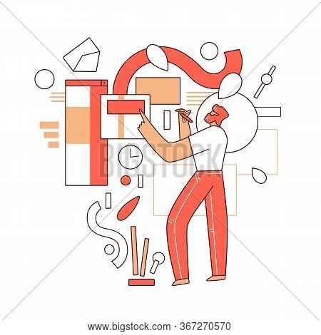 Online Education Vector Flat Concept - Man Character Standing In Front Of Abstract Educational Eleme