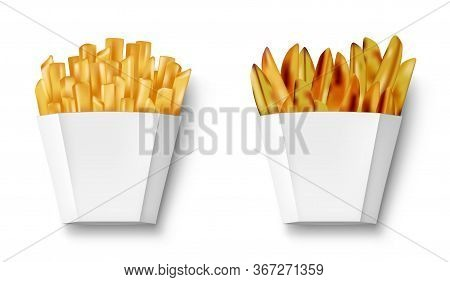 Potatoes French Fries And Potato Wedges In Paper Box, Isolated. Realistic White Package With Fry Fre