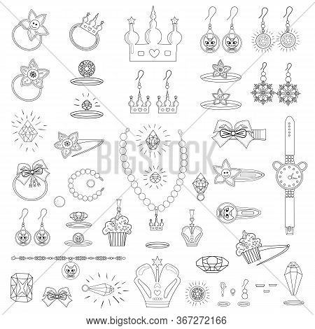 Set Of Crowns, Rings, Gems, Bracelets, Earrings. Contour Drawing Of Bijouterie Isolated On White