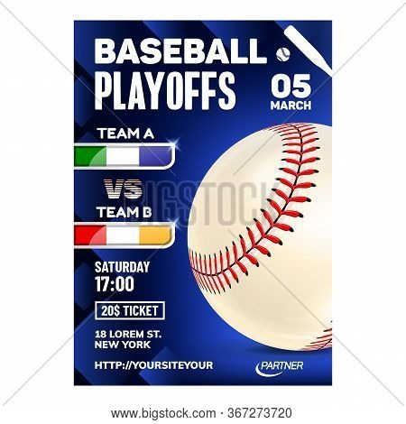 Baseball Stitched Ball Typography Poster Vector. Sportive Ball Accessory On Bright Advertising Marke