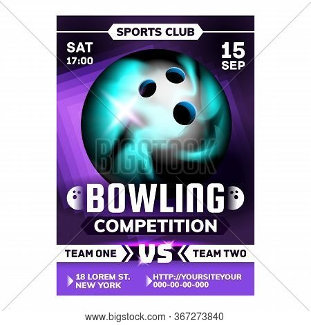 Bowling Ball For Hit Target Ninepins Poster Vector. Bowling Bowler Spherical Tool For Crashing Pins