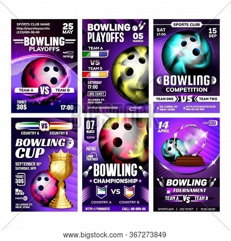 Bowling Balls And Candlepin Posters Set Vector. Bowling Spherical Tool And Duckpins Bowler Equipment
