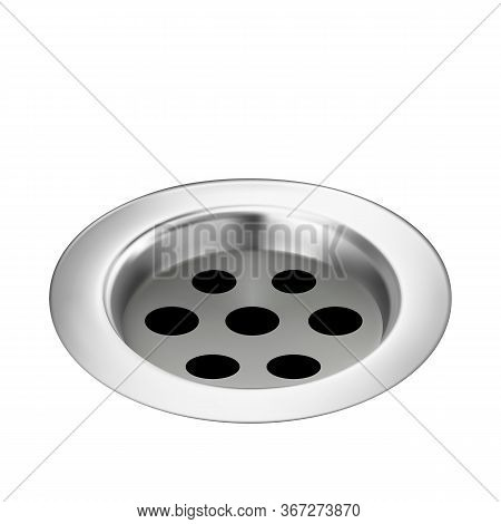 Bath Drain Metallic Detail For Water Flow Vector. Kitchen Sewer Or Bathroom Stainless Plumbing Sink