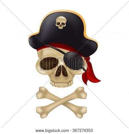 Pirate Skull With Crossbones In The Captain's Hat. 3d Sign Or Buccaneer Emblem. Funny Vector Illustr
