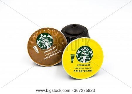 Bangkok, Thailand, May 15 2020.the Starbucks Veranda Blend And Starbucks House Blend Are Coffee Caps