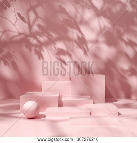Stand for product, podium in shade of tree, conceptual art in bright colors, 3D illustration, rendering.