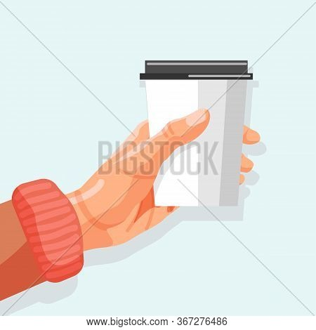 Hot Drink Banner. Man Hand Holding Disposable Paper Cup With Cap. Cardboard Cup With Hot Drink. Morn