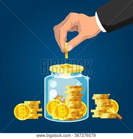 Save Money. Businessman Hand Putting Golden Coin Into Glass Jar. Wealth And Investment, Retirement S