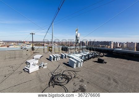Panel Antennas Of Gsm Dcs Umts Lte Bands And Outdoor Radio Units Are As Parts Of Communication Equip