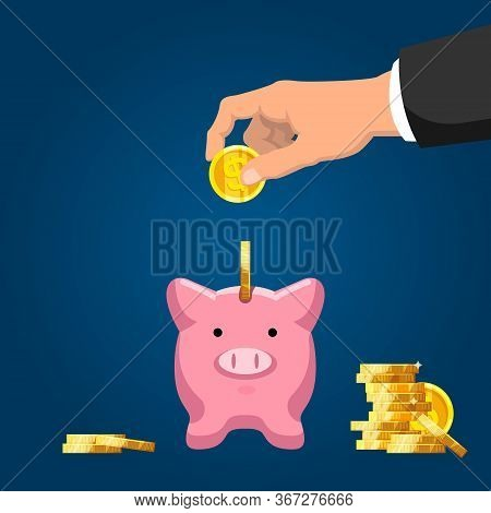 Save Money. Businessman Hand Putting Golden Coin Into Piggy Bank. Wealth And Investment, Retirement