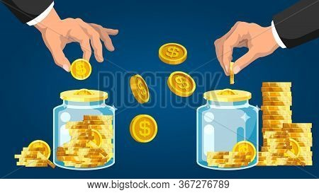 Capital Accumulation. Businessman Hand Putting Golden Coin Into Glass Bank. Capital Investment And O