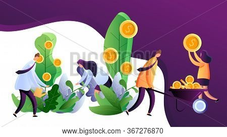 Making Money. Capital Investment And Financial Growth. Business People Harvesting Golden Coins From
