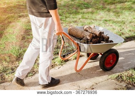 Man With Wheelbarrow Working With Firewood In Garden In Spring, Closeup.