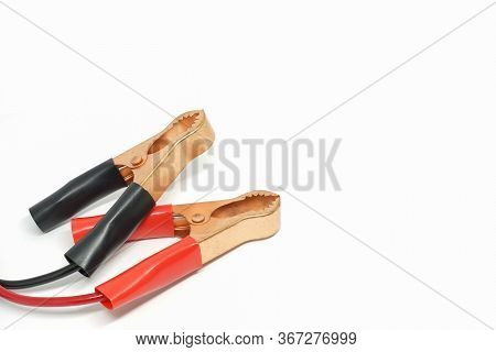 Closed Up Shot Used Power Supply Wire Tweezers, Alligator Clip Or Jumper Cable.
