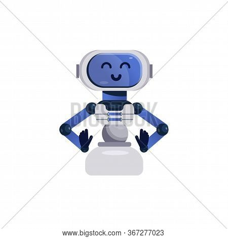Chatbot Character. Friendly Robot Isolated On White Background. Kids Vector Illustration In Flat Sty