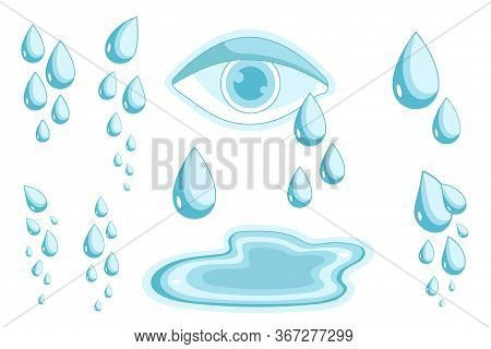 Tears Set. Cry Symbol Of Psychology Problems, Pain And Sadness Vector Illustration. Eye With Teardro