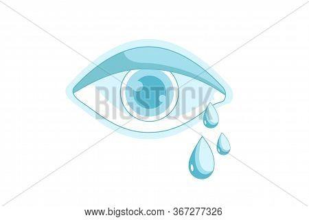 Crying Eye. Eye With Teardrop Isolated On White Background. Ophthalmology Clinic Logo, Optic Diagnos