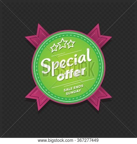 Special Offer Sticker. Sale Ends Sunday Retail Tag Isolated On Dark Background. Market Badge Design