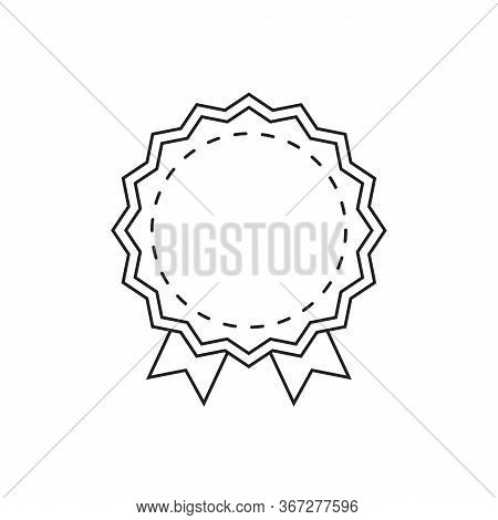 Discount Badge. Blank Store Tag Design For Discount Proposition. Round Badge With Ribbons And Copy S