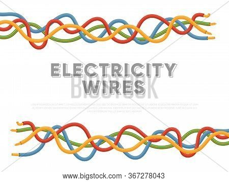 Electric Industrial Cables. Multicolored Power Cables In Insulation Vector Illustration. Electricity