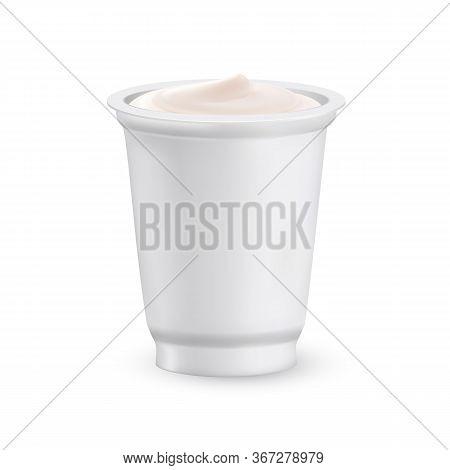 Yoghurt Dairy Creamy Delicious Dessert Food Vector. Bio Natural Greek Yoghurt Nutrition In Blank Cup
