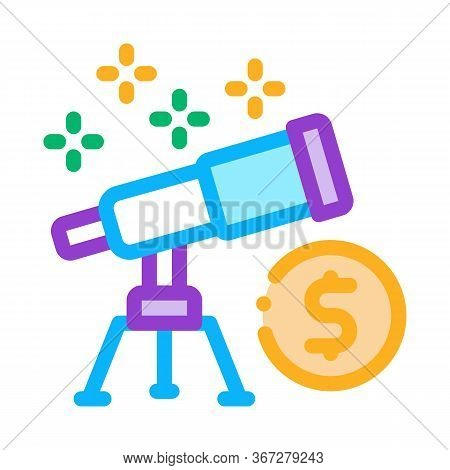 Look At Telescope Money Icon Vector. Look At Telescope Money Sign. Color Symbol Illustration