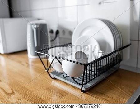 Budget And Lightweight Antimicrobial Dish Drainer With Drain Board At Modern Scandinavian Kitchen. D