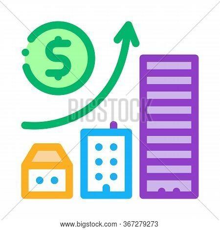 Monetary Construction Gradual Residential Buildings Icon Vector. Monetary Construction Gradual Resid