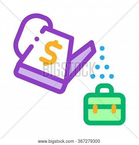 Cash Watering Job Cultivation Icon Vector. Cash Watering Job Cultivation Sign. Color Symbol Illustra