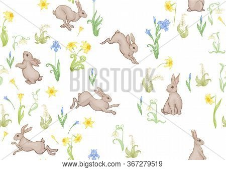 Seamless Pattern, Ackground With Spring Flowers And Rabbits, Hares. Colored Vector Illustration. Iso