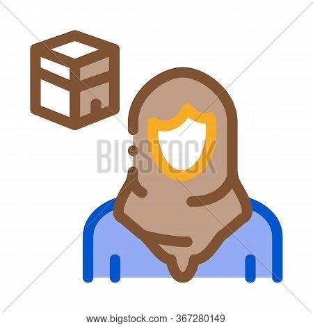 Muslim Woman Pilgrim Icon Vector. Muslim Woman Pilgrim Sign. Color Symbol Illustration