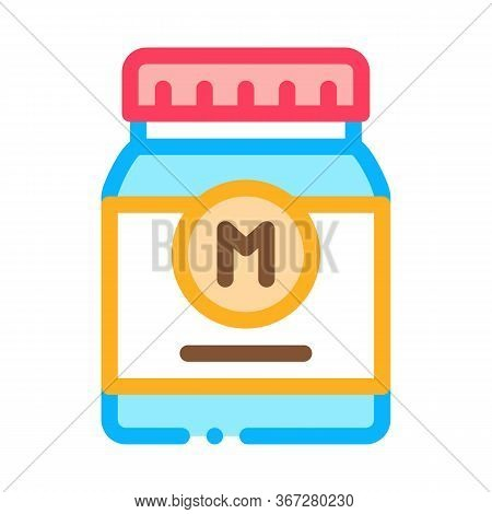Jar Of Mayonnaise Sauce Icon Vector. Jar Of Mayonnaise Sauce Sign. Color Symbol Illustration
