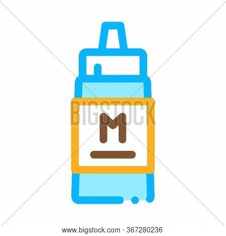 Squeezes Bottle Of Mayonnaise Sauce Icon Vector. Squeezes Bottle Of Mayonnaise Sauce Sign. Color Sym