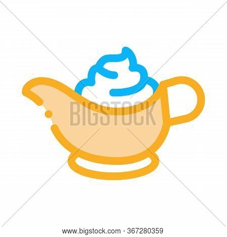 Sauce Bowl Mayonnaise Icon Vector. Sauce Bowl Mayonnaise Sign. Color Symbol Illustration