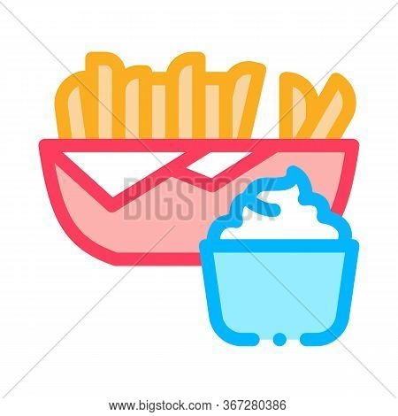 French Fries With Mayonnaise Sauce Icon Vector. French Fries With Mayonnaise Sauce Sign. Color Symbo