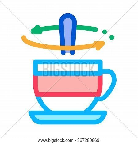 Stirring Spoon In Cup Of Tea Icon Vector. Stirring Spoon In Cup Of Tea Sign. Color Symbol Illustrati
