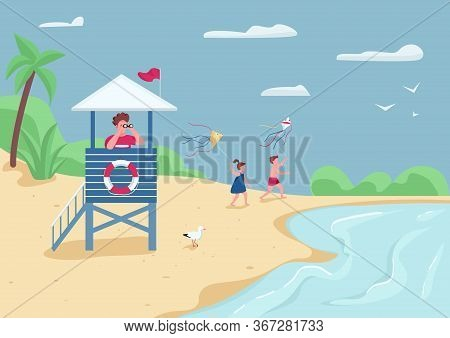 Beach Safety And Active Leisure Flat Color Vector Illustration. Lifeguard In Tower Watching In Binoc