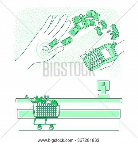 Smart Chip Embedded In Human Hand Thin Line Concept Vector Illustration. Person Making Contactless P