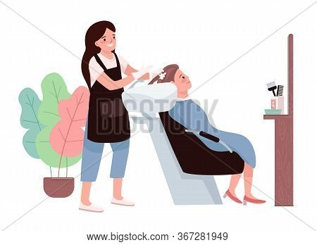 Hairdressing Flat Color Vector Characters. Female Hairdresser Washing Clients Hair. Cosmetic Prepara