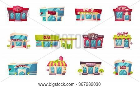 Shop Front Flat Color Vector Objects Set. Barber Shop. Supermarket Entrance. Sporting Goods Store. P