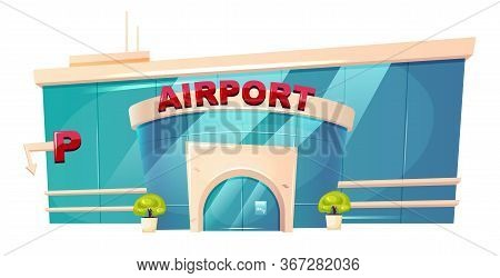 Airport Exterior Cartoon Vector Illustration. Airfield Terminal Entrance Flat Color Object. Place Fo