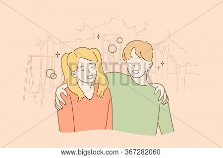Hugging, Happiness Concept. Cartoon Characters Young Happy Smiling Boy And Girl Brother Sister Teena