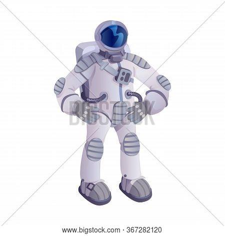 Spaceman Cartoon Vector Illustration. Astronaut, Cosmonaut In Spacesuit, Universe Explorer. Ready To