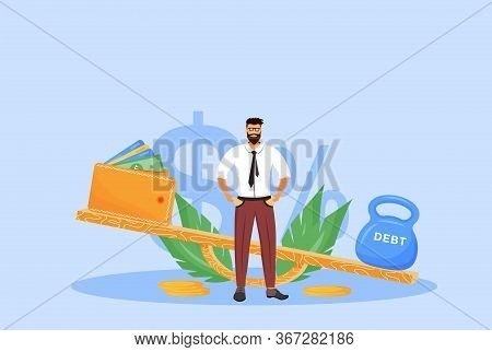 Debt Repayment Flat Concept Vector Illustration. Bankrupt, Man Without Money, Bank Debtor 2d Cartoon