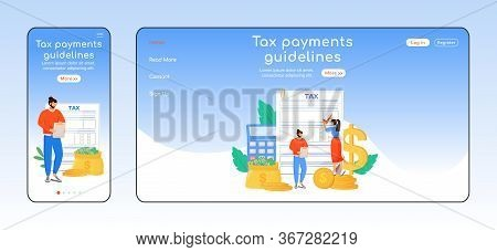 Tax Payments Guidelines Adaptive Landing Page Flat Color Vector Template. Utility Services Mobile An