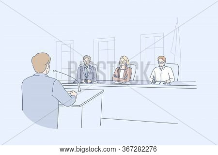 Law Adjustment, Court Concept. Young Man Criminal Attorney Cartoon Character Takes Floor Speaking In