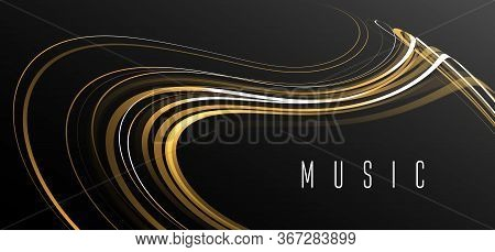 Abstract Dynamic Composition Of Lines In Dynamic Movement Forming Elegant Shape, Abstract Music Melo