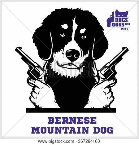 Bernese Mountain Dog With Revolvers Gun - Bernese Mountain Dog Gangster. Head Of Funny Bernese Mount