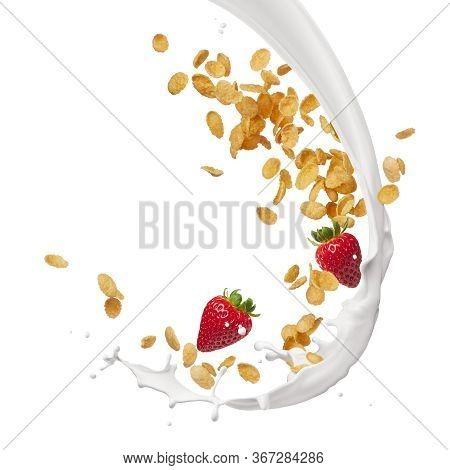 Milk Splash With Corn Flakes And Strawberries