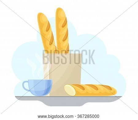 French Food With Crunchy Baguette And Cup Of Hot Drink Vector Illustration